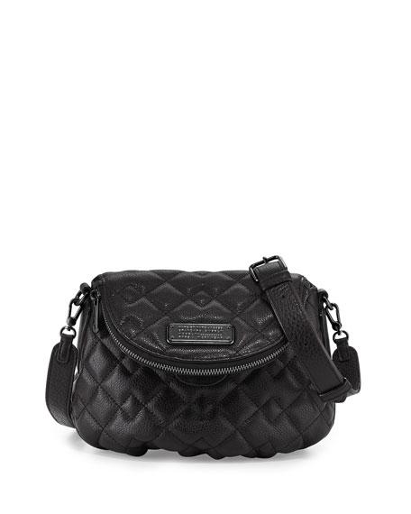 New Q Quilted Natasha Crossbody Bag, Black