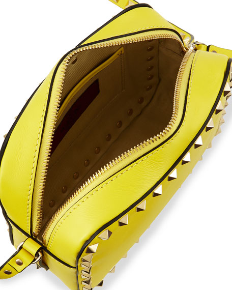 Rockstud Camera Crossbody Bag, Yellow