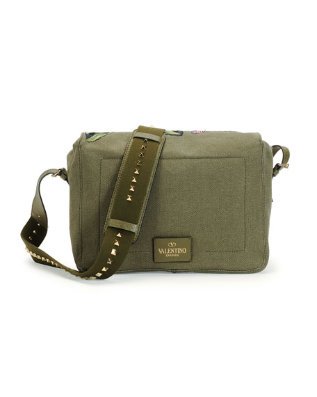 Embroidered Butterfly Camouflage Messenger Bag, Dark Green