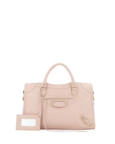 Metallic Edge Classic City Bag, Rose Aubepine
