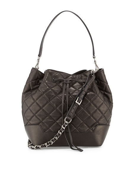 Quilted Lambskin Bucket Bag, Black