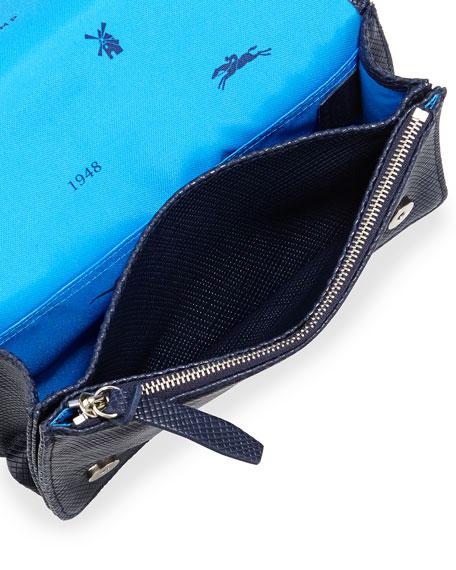 Quadri Leather Crossbody Bag, Navy
