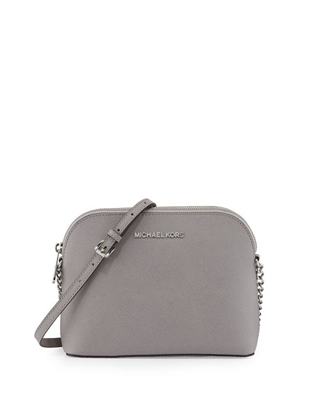 Cindy Large Dome Crossbody Bag, Pearl Gray