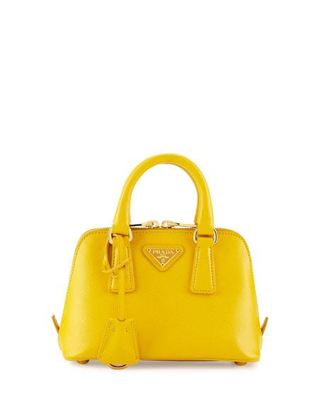 Mini Saffiano Promenade Bag, Yellow (Soleil)
