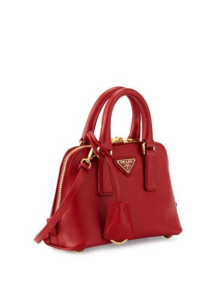 Mini Saffiano Promenade Bag, Red (Fuoco)