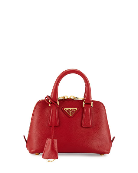 Prada Mini Saffiano Promenade Bag, Red (Fuoco)