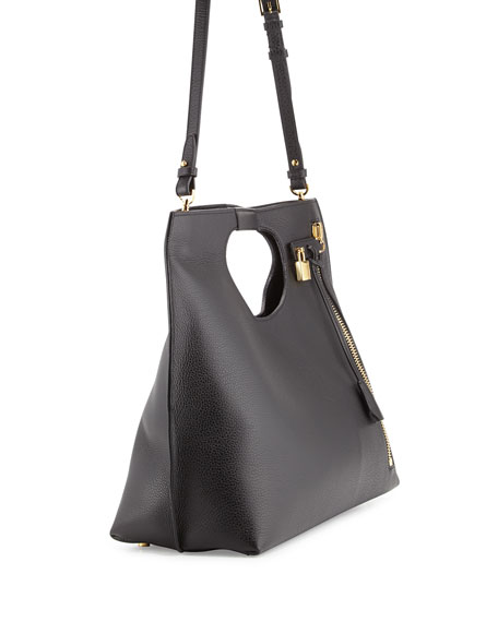 Alix Large Leather Shopper Tote Bag, Black