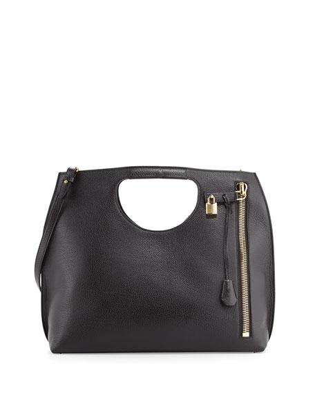 TOM FORD Alix Large Leather Shopper Tote Bag, Black