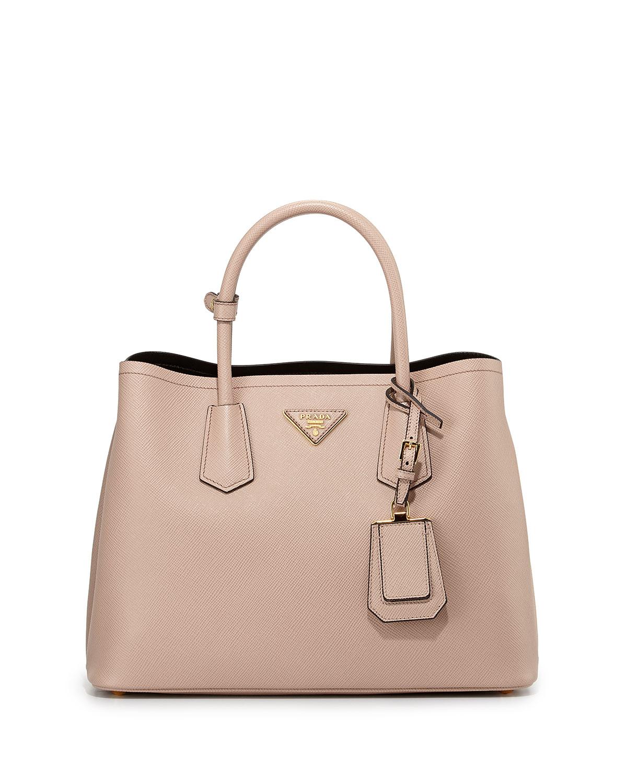 33d9ac3c849c Prada Saffiano Cuir Small Double Bag, Blush (Cammeo) | Neiman Marcus