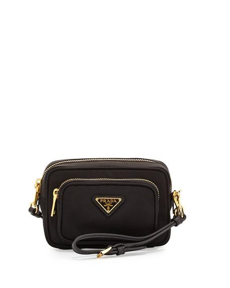 prada black and white purse - Prada Tessuto Small Pocket Crossbody Bag, Black (Nero)