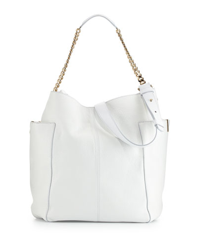 Anna Leather Tote Bag, White