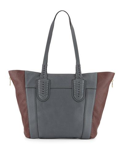 Kristen Pebbled Leather Tote Bag, Slate/Multi