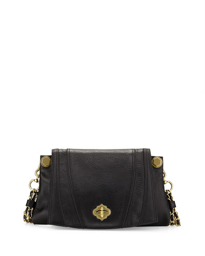 Leah Flap Leather Crossbody Bag, Black