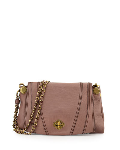 Leah Flap Leather Crossbody Bag, Mushroom