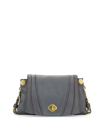 Leah Flap Leather Crossbody Bag, Slate
