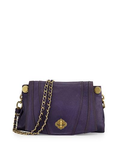 Leah Flap Leather Crossbody Bag, Eggplant