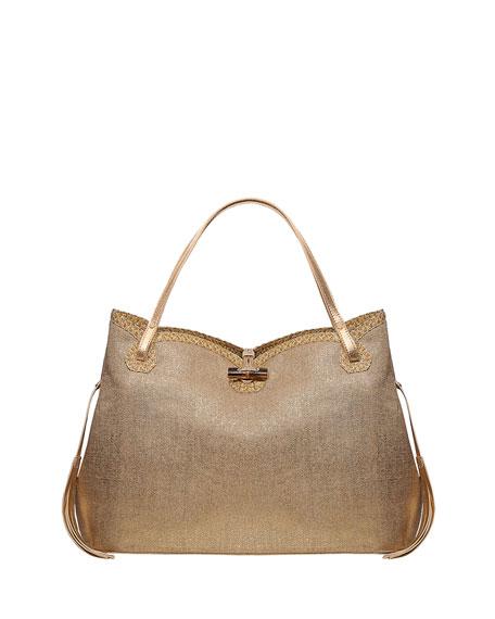 Eric Javits Tuti Linen-Look Tote Bag, Gold