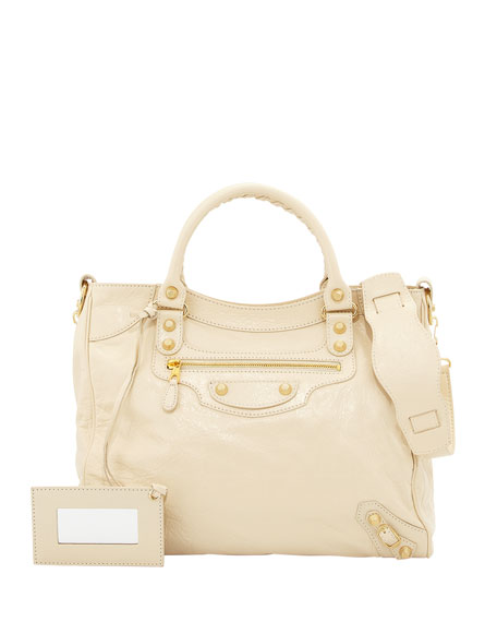 Balenciaga Giant Velo Crossbody Bag, Beige