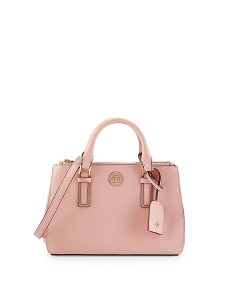Robinson Micro Double-Zip Leather Shoulder Bag, Rose