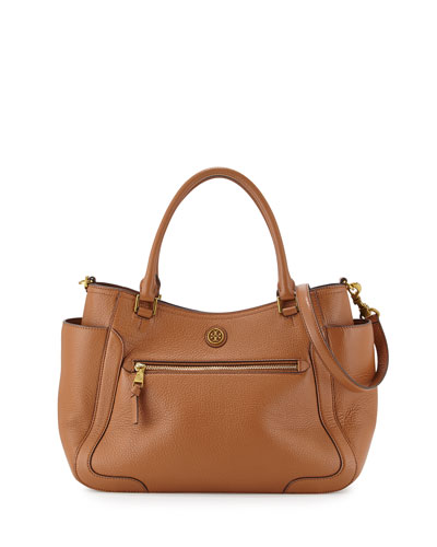 Frances Leather Satchel Bag, Bark