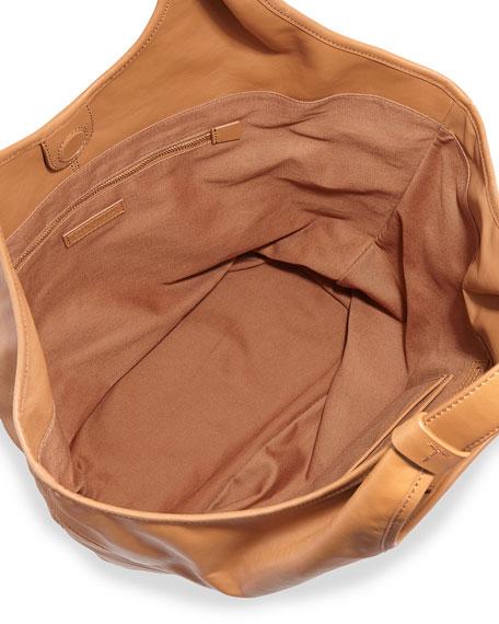 Slouchy Leather Hobo Bag, Bark