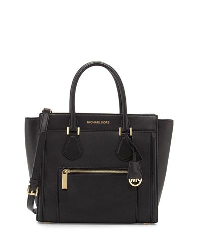Colette Large Zip-Top Satchel Bag, Black
