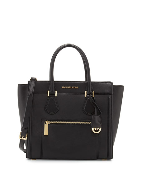 Colette Large Zip-Top Satchel Bag, Black