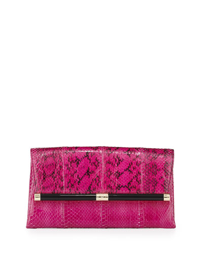 440 Snake Envelope Clutch Bag, Azalea