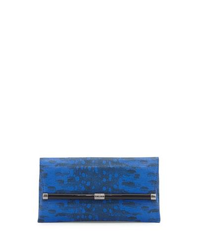 440 Snake-Embossed Leather Envelope Clutch Bag, Cobalt