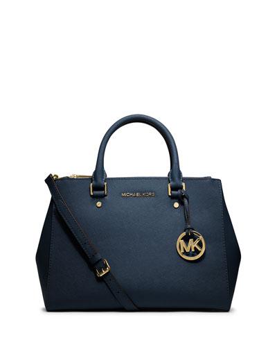 Sutton Medium Satchel Bag, Navy