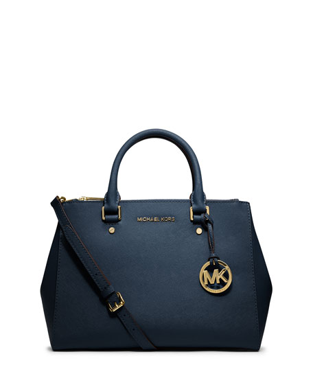 Sutton Medium Satchel Bag, Navy