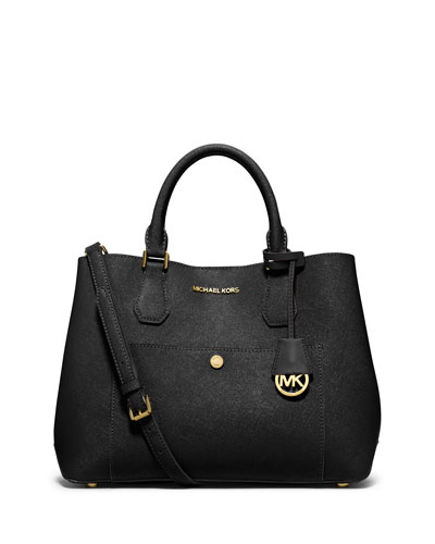Greenwich Large Saffiano Tote Bag, Black/Luggage