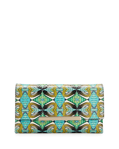 Rougissime Python Inferno Python & Leather Clutch Bag, Green/Blue/Multicolor