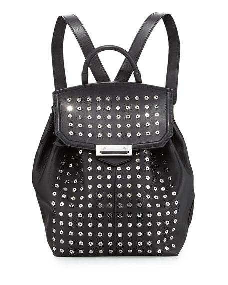 Prisma Studded Leather Backpack, Black