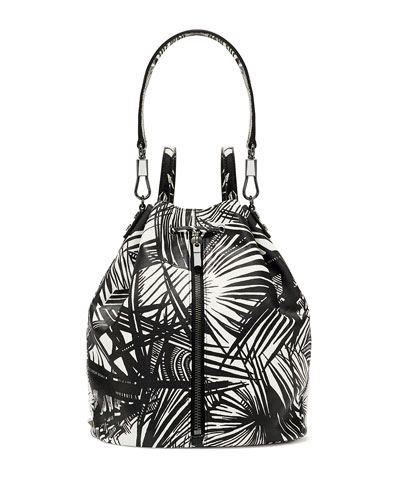 Cynnie Palm Printed Drawstring Backpack, White/Black