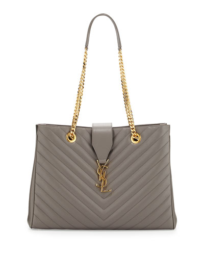Double Chain Large Shoulder Tote, Fog Gray