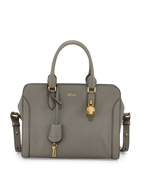 Small Padlock Satchel Bag, Dark Gray