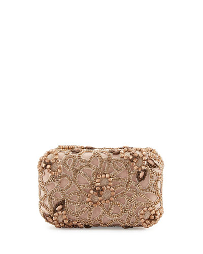 Hard-Shell Embellished Satin Clutch Bag, Rose Golden