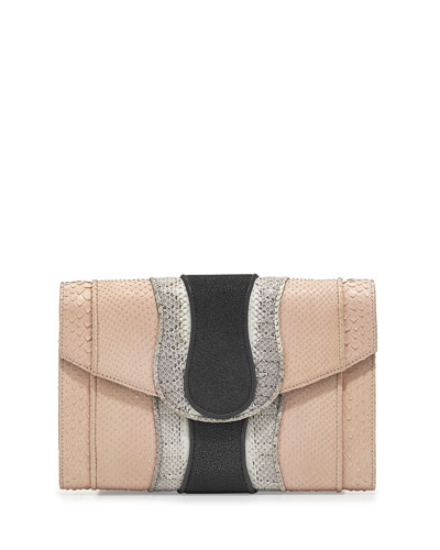 Herzog Mixed-Media Clutch Bag, Rose/White/Smoke