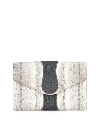 Herzog Snake & Stingray Clutch Bag, White/Smoke