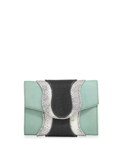 Jolie Mixed-Media Clutch Bag, Mint/White/Smoke