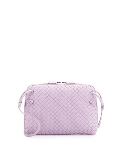 Small Pillow Woven Crossbody Bag, Lavender