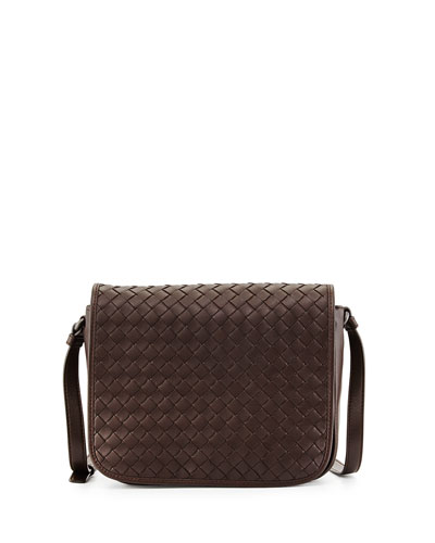 Small Woven Flap Crossbody Bag, Dark Brown