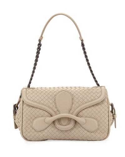 Medium Intrecciato Flap Shoulder Bag, New Sand Light Gray