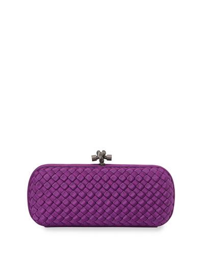 Woven Faille Large Knot Clutch Bag, Mona Lisa Purple
