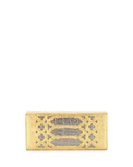 Crocodile Overlay Box Clutch Bag, Gold/Anthracite