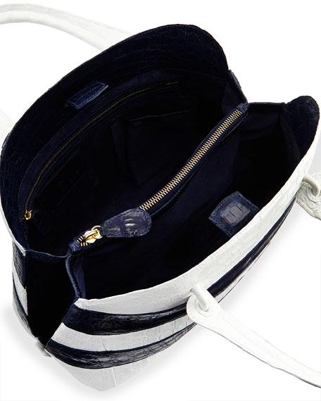 Crocodile Striped Medium Dome Satchel Bag, White/Navy