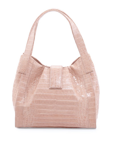 Crocodile Medium Tab Hobo Bag, Nude Matte