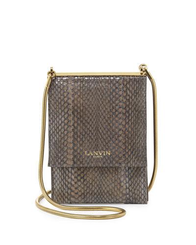 Snakeskin Mini Crossbody Bag, Dark Gray