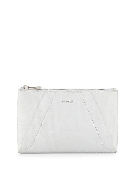 Liza Python-Embossed Clutch Bag, White